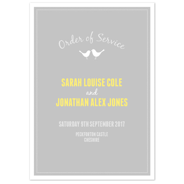 Amy Order of Service booklets