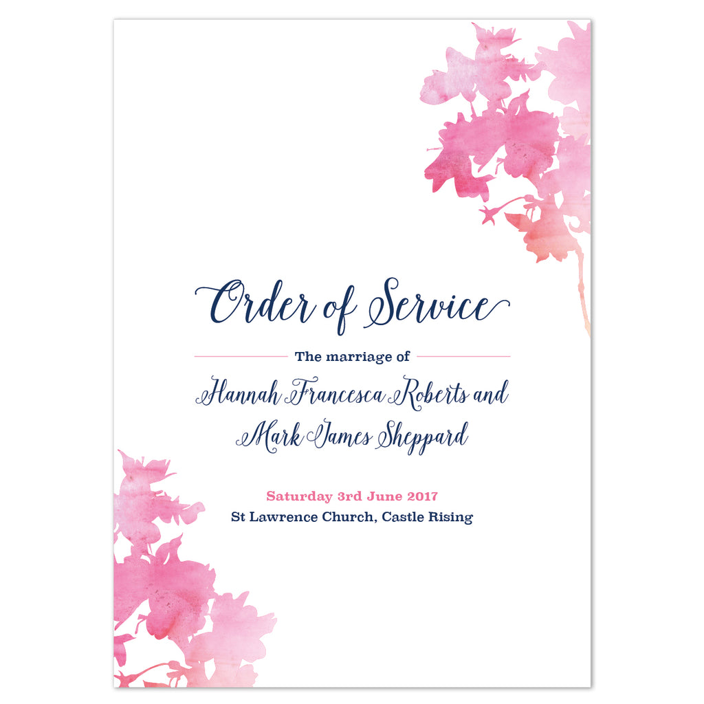 Blossom Order of Service booklets