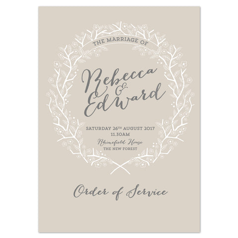 Enchanted Forest Order of Service booklets