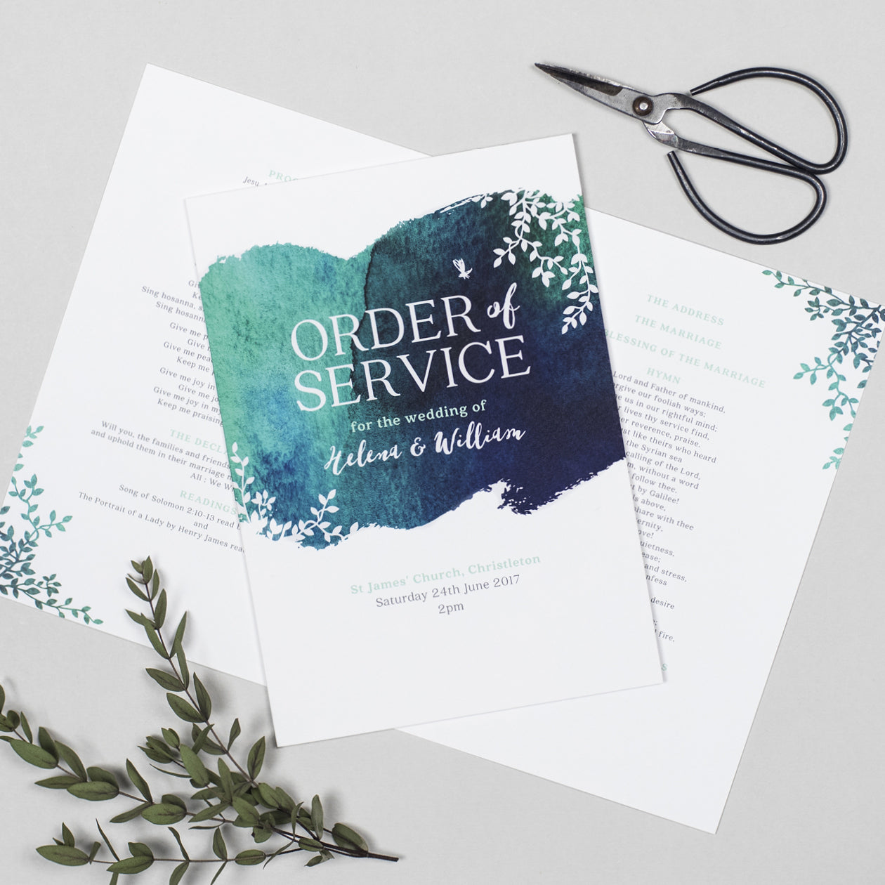 Helena Order of Service booklets