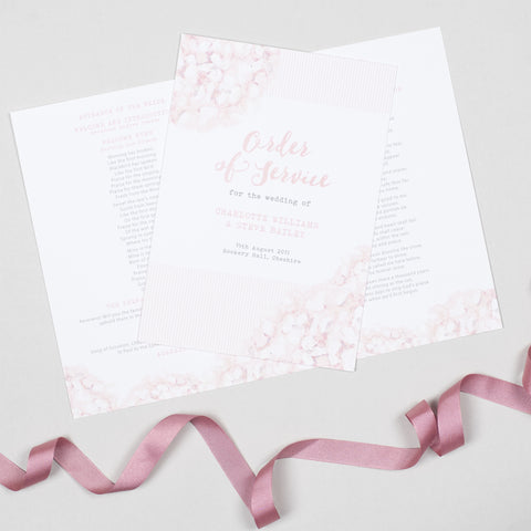 Hydrangea Pink Order of Service booklets