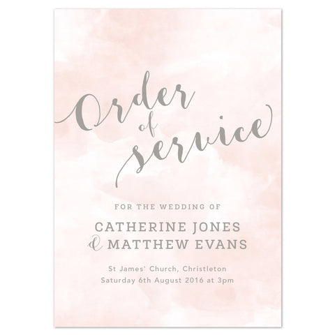 Romance Order of Service booklets
