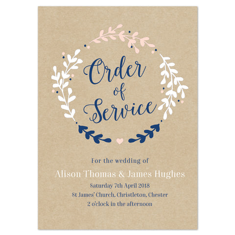 Hannah Order of Service booklets