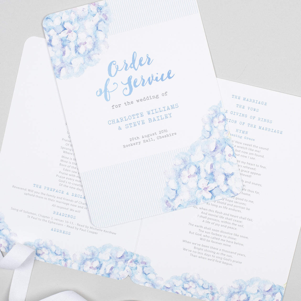 Hydrangea Blue Order of Service booklets