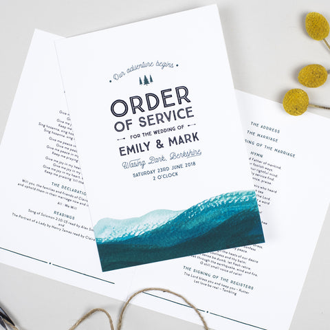Adventure Order of Service booklets