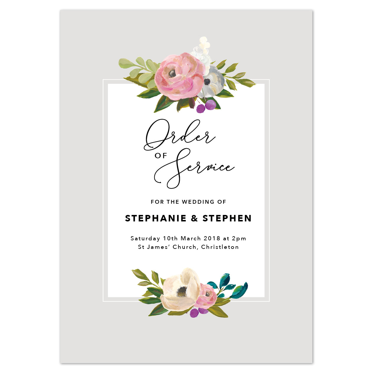 Sadie Order of Service booklets