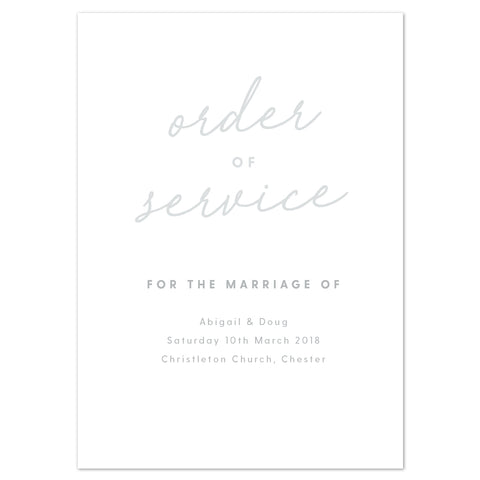 Rachel Order of Service booklets