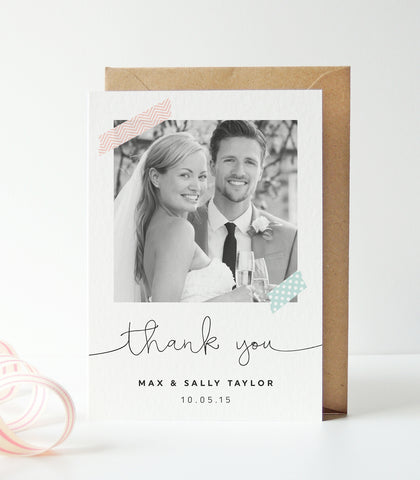 Washi Tape Wedding Photo Thank You Cards - Project Pretty