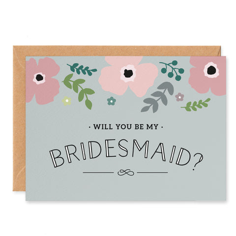 Pink Poppy 'Will You Be My Bridesmaid? Card
