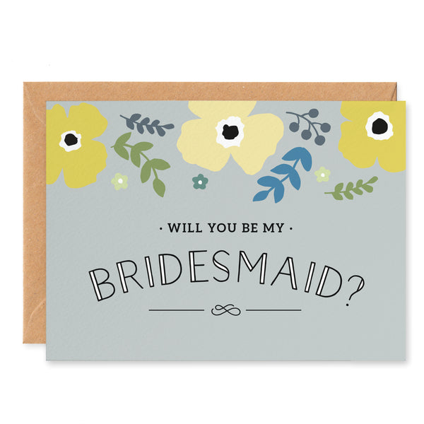 Yellow Poppy 'Will You Be My Bridesmaid? Card
