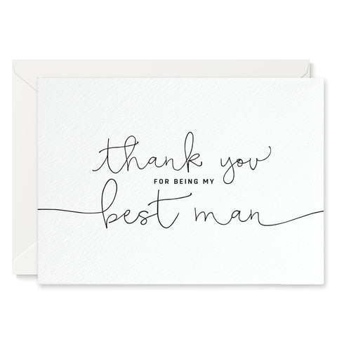'Thank You For Being my Best man' card - white