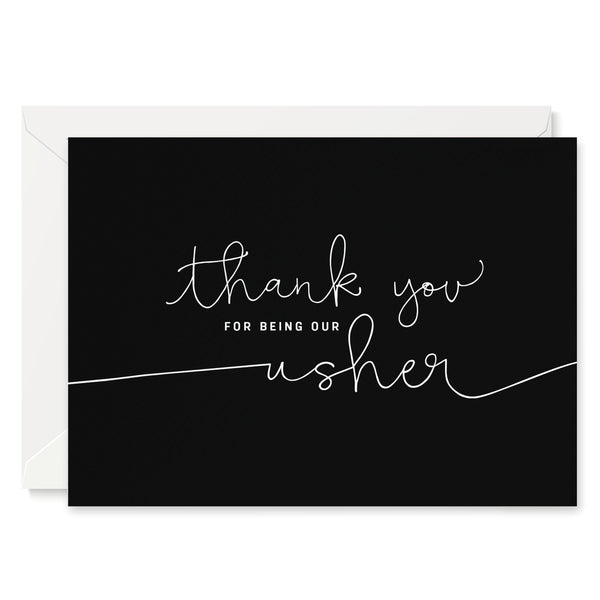 'Thank You For Being our Usher' card - black
