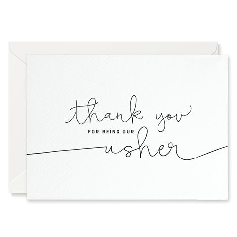 'Thank You For Being our Usher' card - white
