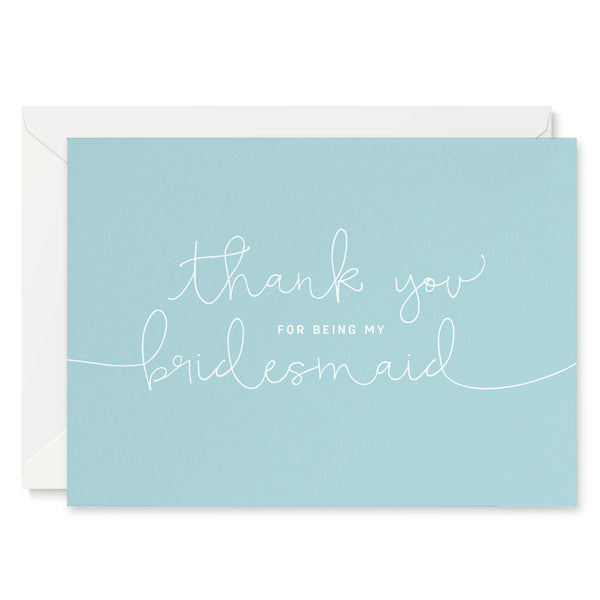 Duck Egg Blue 'Thank You For Being My Bridesmaid' Card - Project Pretty