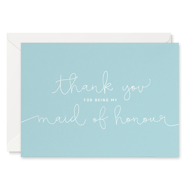 Duck Egg Blue 'Thank You For Being My Maid of Honour' Card - Project Pretty