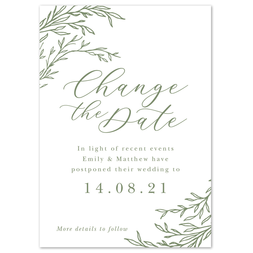 Florence Delicate Foliage change the date cards