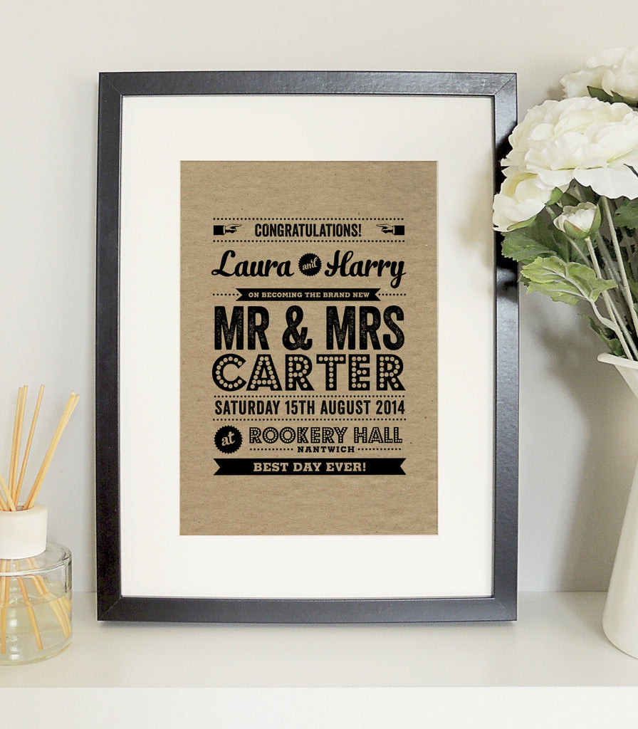 Personalised Wedding Day A4 Print - Project Pretty  - 1