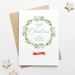 Personalised Wreath Newlyweds First Christmas Card