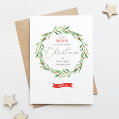 Personalised 'To My Wife On Our First Christmas' Card