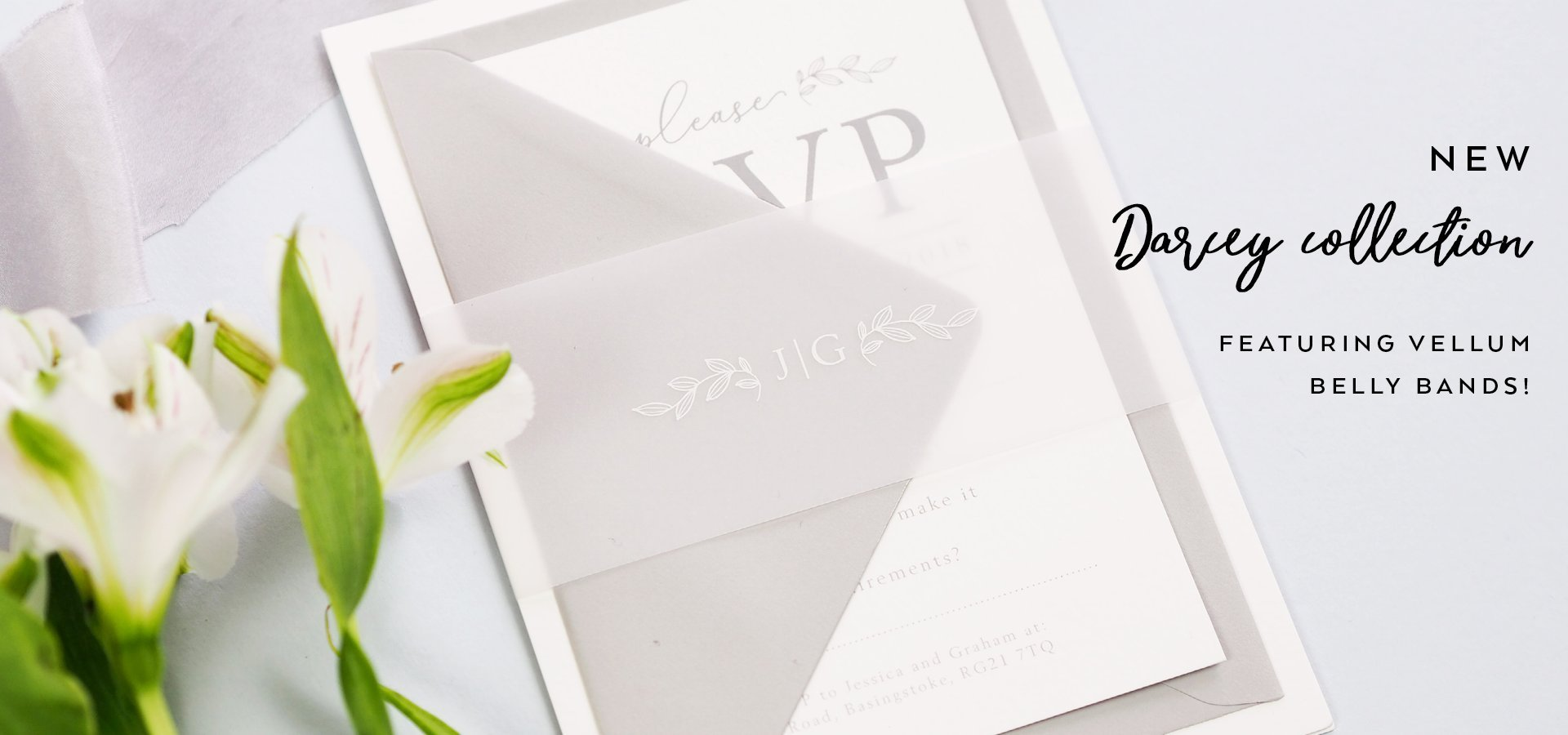 Darcey wedding invitations featuring vellum belly bands
