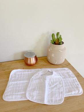 Organic Bib and Burp cloth set in White - CovetedThings
