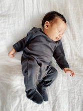 Load image into Gallery viewer, Organic Cotton Footed Onesie in Charcoal - CovetedThings