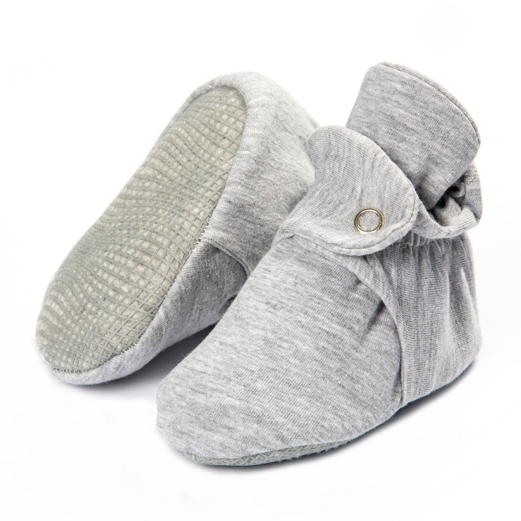 Organic Cotton Stay On Baby Booties, Non Skid Bottom - Grey - CovetedThings