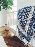 Handmade Embroidered Quilt in Indigo Windowpane - CovetedThings