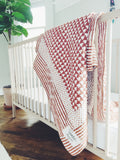 Handmade Embroidered Quilt in Rust Pyramid - CovetedThings