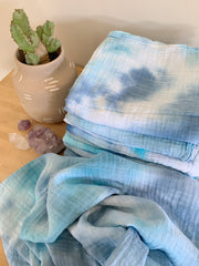 Tie Dyed Organic Swaddle Scarves™ in Desert Sky