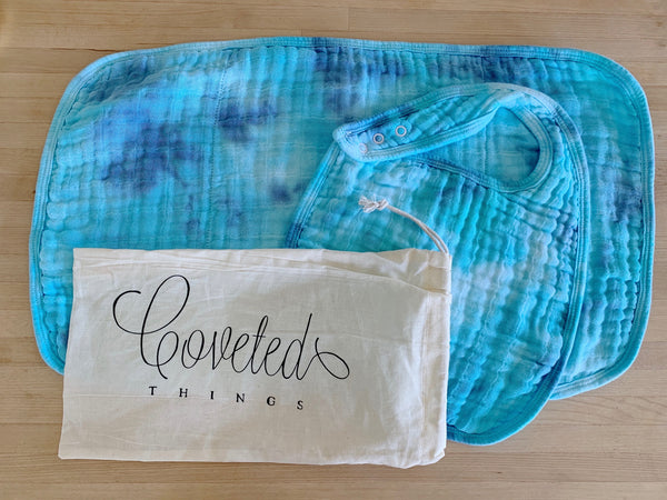 Tie Dyed Organic Bib and Burp cloth set in Cotton Candy - CovetedThings