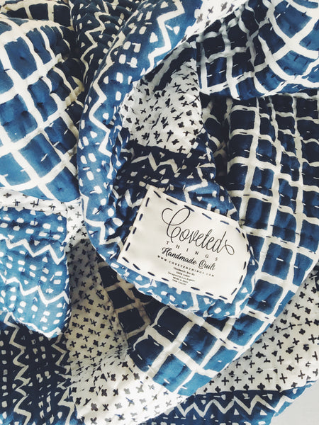 Handmade Embroidered Quilt in Indigo Windowpane