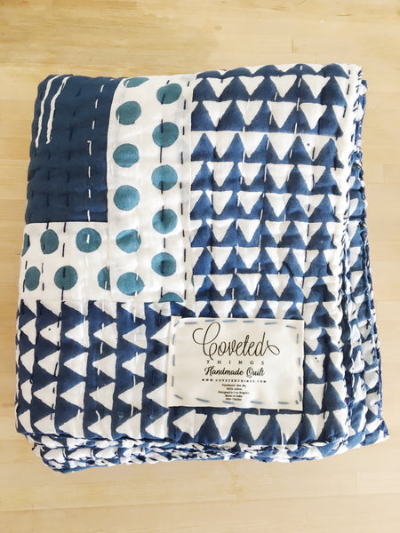 Handmade Embroidered Quilt in Indigo Giraffe