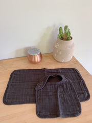 Organic Bib and Burp cloth set in Charcoal - CovetedThings