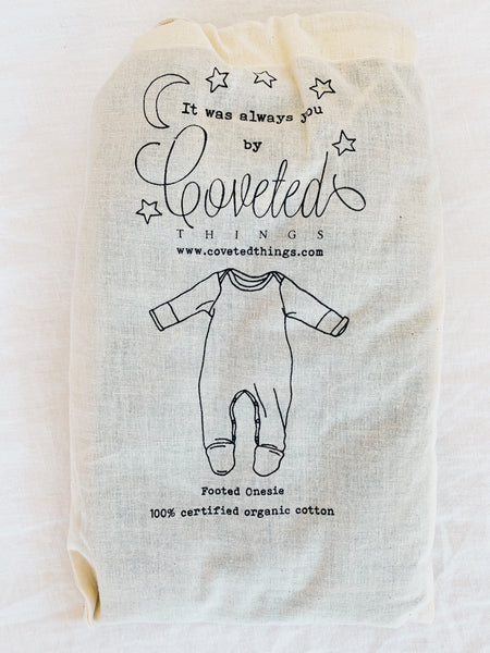 Organic Cotton Footed Onesie in Charcoal - CovetedThings