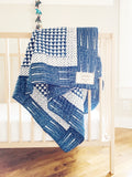 Handmade Embroidered Quilt in Indigo Pyramid - CovetedThings