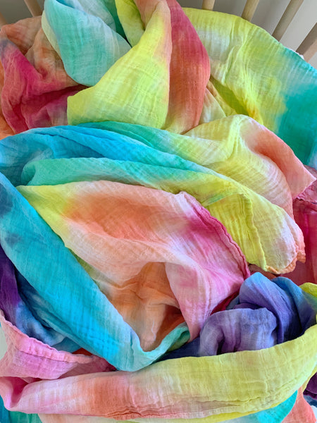 Tie Dyed Organic Swaddle Scarves™ in Roy G. Biv