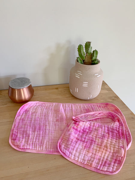 Tie Dyed Organic Bib and Burp cloth set in Summer Sherbet - CovetedThings