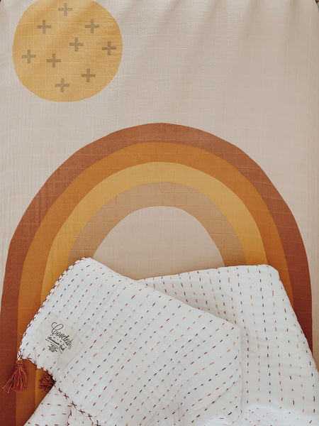 Handmade Embroidered Quilt in Neutral Rainbow - CovetedThings