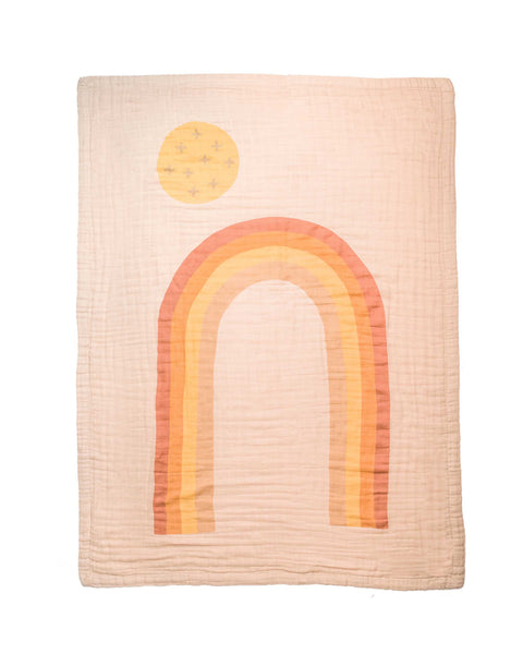 Rainbow 4-Layer Organic Cotton Happy Cloud Luxury Blanket