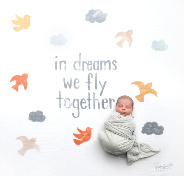 In Dreams We Fly Together Organic Swaddle Scarf™ - CovetedThings