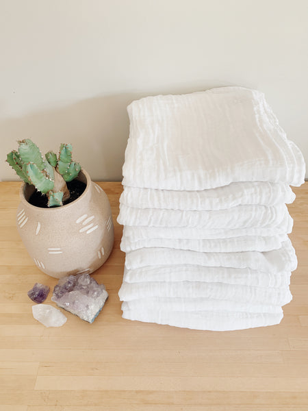 Two pack Solid White Organic Swaddle Scarves™