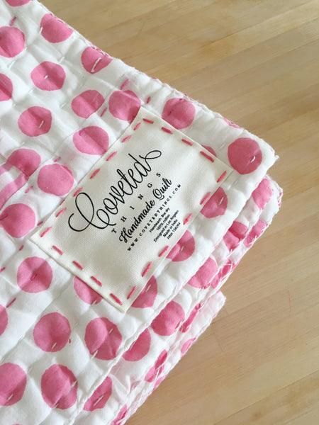 Handmade Embroidered Quilt in Peony - CovetedThings