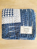 Handmade Embroidered Quilt in Indigo Pyramid