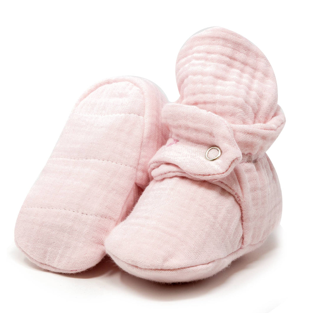 Muslin Baby Booties, Newborn, Infant - Pink - CovetedThings