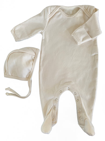 Organic Cotton Footed Onesie in Dove - CovetedThings