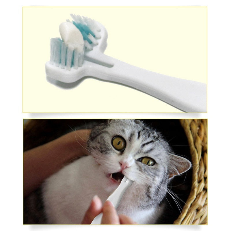 Hot Pet Cat Toothbrush Double Heads Teeth Brushing Multi-angle Cleaning Pet Breath Freshener Oral Care For Dog Cat High Quality