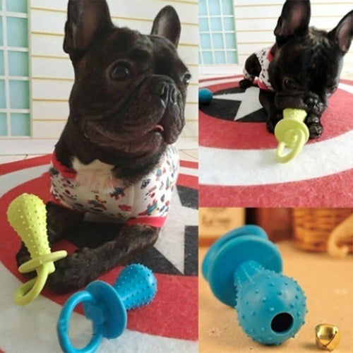 Dog Toys Pet Chewing Toy Rubber Molar Pet Toy Sounding Teat Nipple Shape Teething Train Random Color