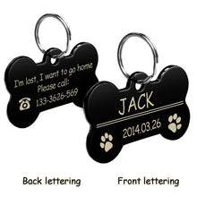 Load image into Gallery viewer, Personalized Dog Tags Engraved Cat Puppy Pet ID Name Collar Tag Pendant Pet Accessories Bone/Paw Glitter