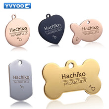 Load image into Gallery viewer, YVYOO Free engraving Pet Dog cat collar accessories Decoration Pet ID Dog Tags Collars stainless steel  cat tag customized tag